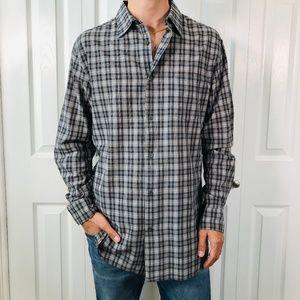 John Varvatos Star USA Grey Cream Check Shirt L